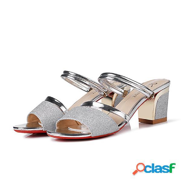 Sandálias de salto alto de couro envernizado bling