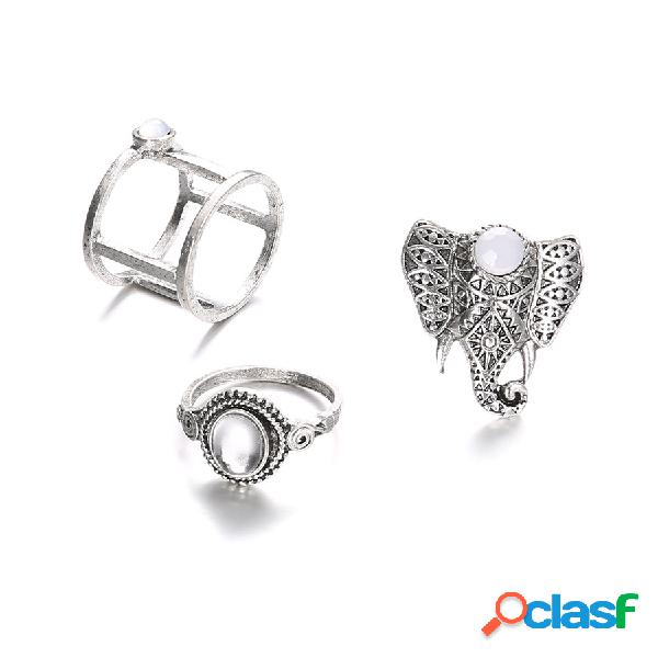 Anel de dedo do vintage conjunto de pedras preciosas elefante bonito prata knuckle anéis jóias étnica para as mulheres