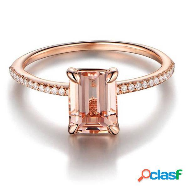 Anel de dedo elegante rosa ouro 18k ouro zircão anéis geométricos simples mãos joias para mulheres