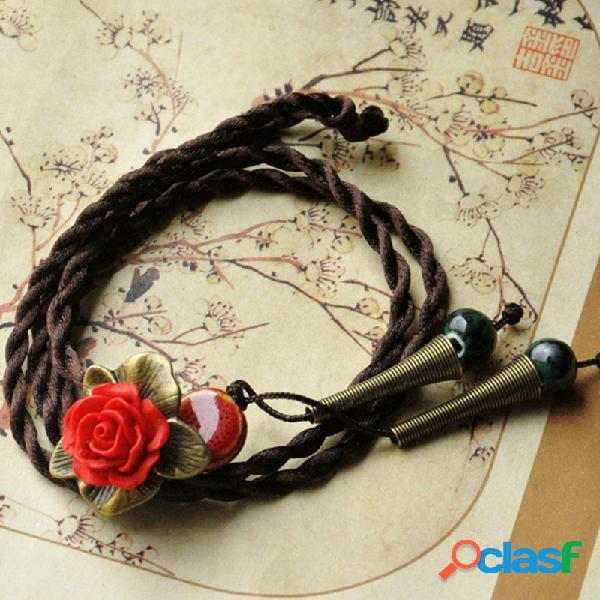 Flor do vintage pingente colar rodada bead trumpet encanto colar de jóias étnicas para as mulheres