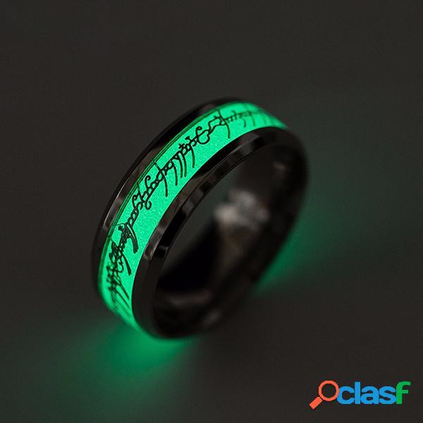 Moda luminosa anel de dedo de prata padrão de ouro luz verde mão acessórios jóias para homens