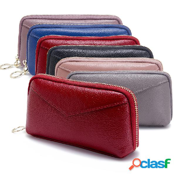 Mulheres bifold couro genuíno longo telefone bolsa sólida lazer coin purse 3 card slot embreagem sacos