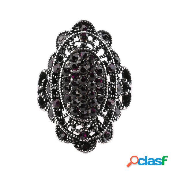 Anéis de dedo boêmio colorido cristal oco alloy oval anéis geométricos jóias étnicas para as mulheres