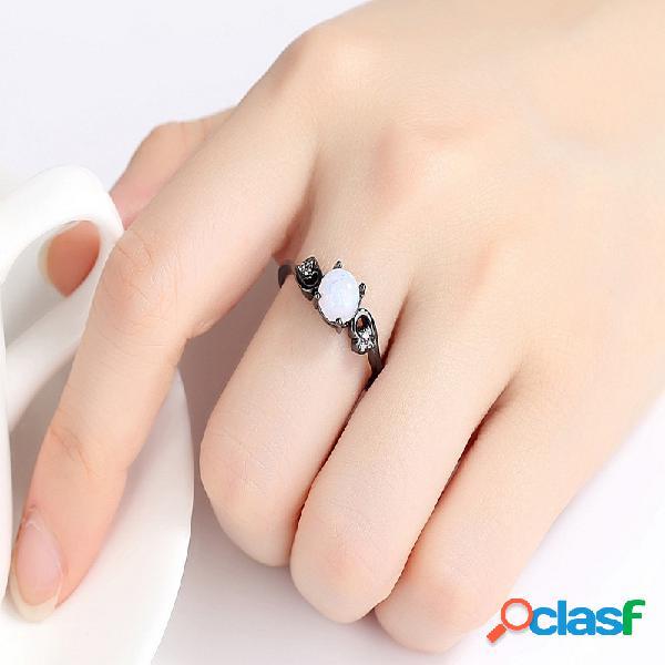 Anéis de dedo do vintage preto banhado a ouro círculo geométrica bola de cristal anéis jóias étnicas para as mulheres