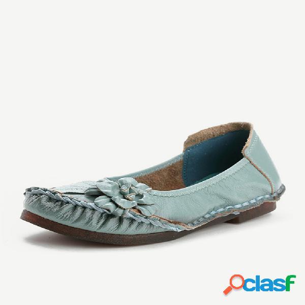 Couro com costura de dedo redondo confortável deslizamento em sapatos baixos vintage