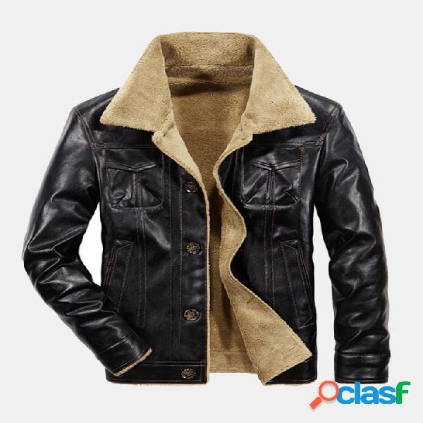 Casaco de couro sintético masculino inverno casual empresarial engrossar forro de lã quente