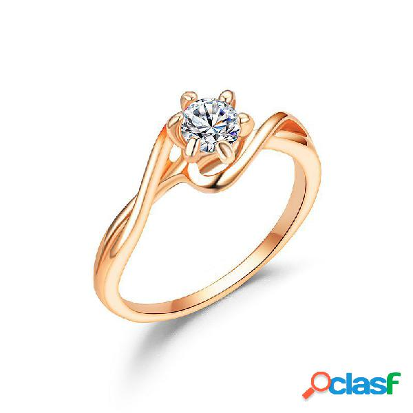Elegante casal anéis de dedo liga de zircão oco rodada anéis dedo jóias para mulheres homens