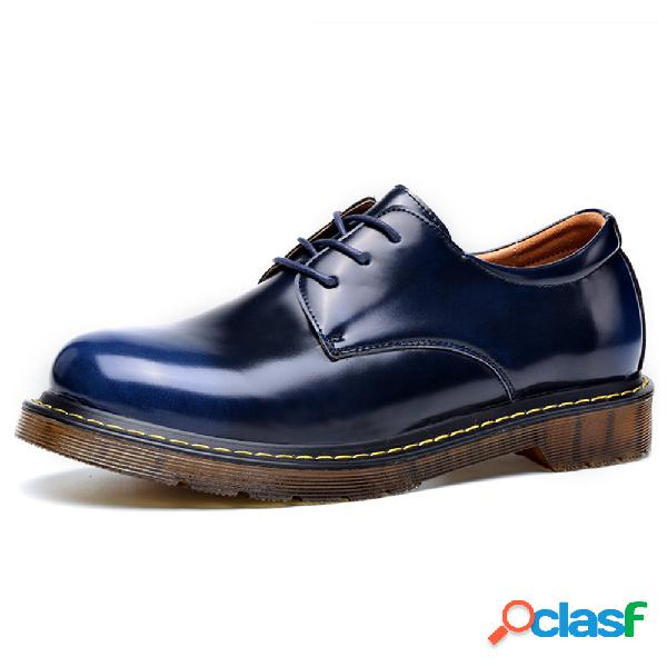 Homens couro antiderrapante resistente ao desgaste low top casual ankle boots
