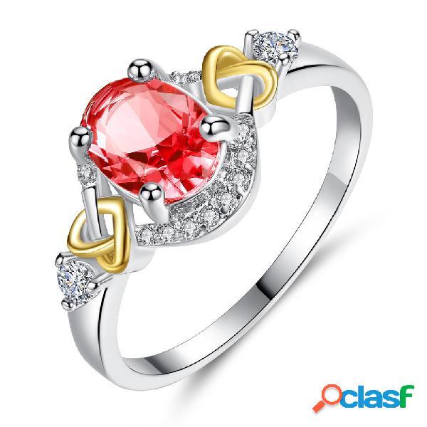 Moda anéis de dedo duplo coração colorido micro zircão anéis acessórios de mão de jóias para as mulheres