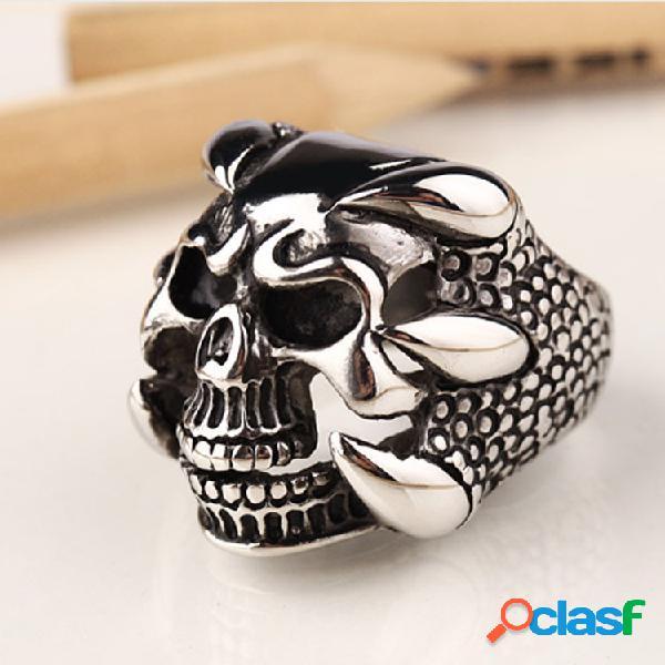 Moda anéis de dedo irregular crânio preto titanium aço anéis jóias étnicas para homens