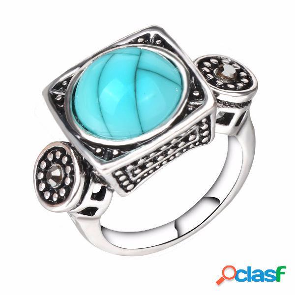 Moda anel de dedo azul turquesa cristal geométrica anéis de prata antigo jóias étnicas para homens