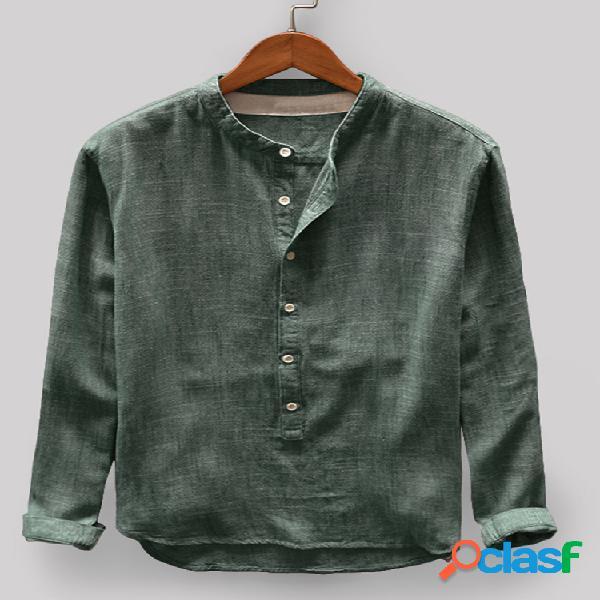 Algodão masculino vintage sólido casual manga longa henley camisa