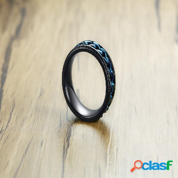 Anéis de dedo do vintage azul cadeia de aço inoxidável ip chapeamento preto anéis bijuterias para homens