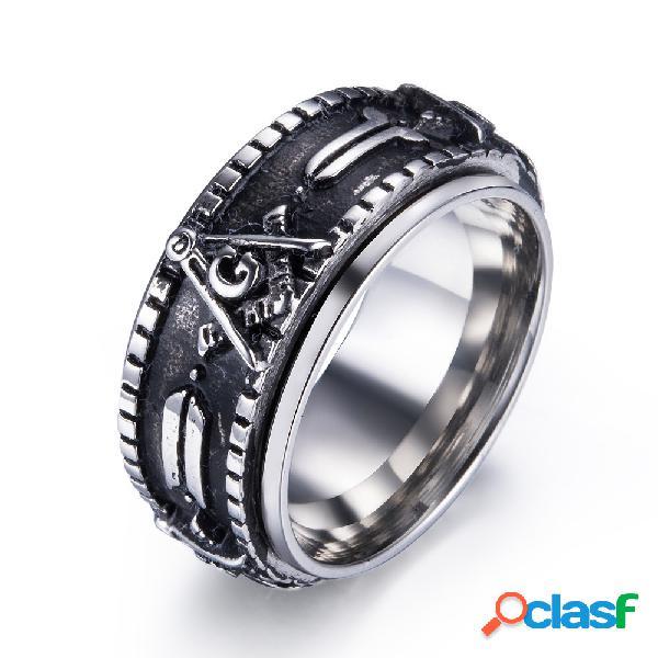 Anéis de dedo do vintage padrão maçônico de aço inoxidável anéis rotativos étnicos jewerly para homens