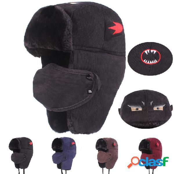 Das mulheres dos homens à prova de vento de esqui de espessamento à prova de vento-completo máscara rosto quente chapéu com aleta de pescoço