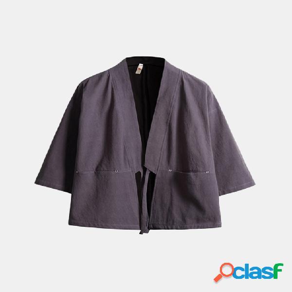 Mens respirável fino cor sólida casaco casaco casual cardigans de algodão 3/4 de manga longa