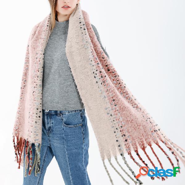 Mulheres estilo étnico borla cachecol de lã de mistura xale casual quente respirável protetor solar lenço