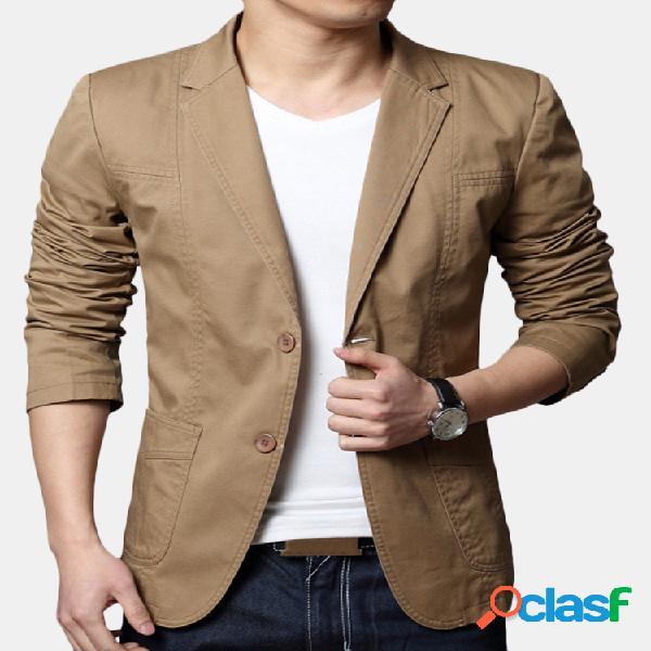 Blazer casual masculino 100% algodão fino fit cor sólida manga longa moda
