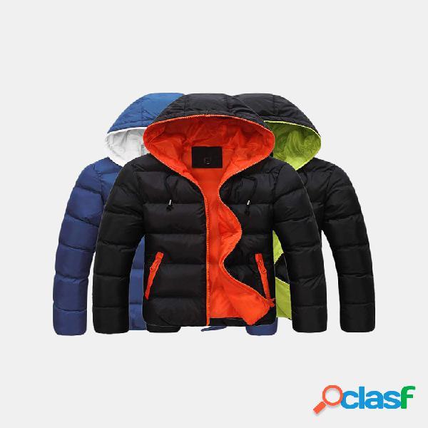 Casaco masculino de inverno térmico espesso contraste cor elegante casual exterior com capuz para baixo