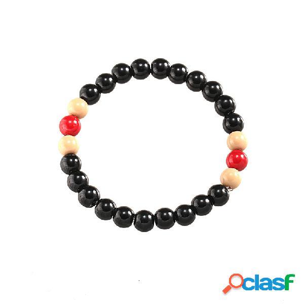 Mão vintage feita pulseira frisada suave preto beads pulseira moda jóias para homens