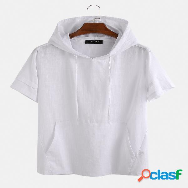 Camiseta masculina 100% algodão com cordão com capuz e manga curta respirável