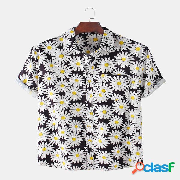Colarinho dobrável de manga curta de manga curta impressa dasiy masculina camisa