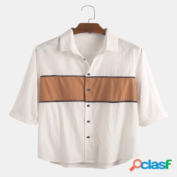 Mens designer patchwork contraste simples casual 100% algodão manga curta camisa