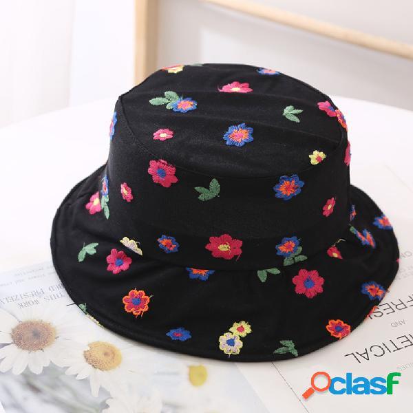 Protetor solar respirável de malha de flores pequenas femininas buket chapéu