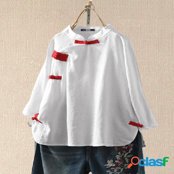 Blusa de manga comprida com botão de lapela sapo de cor sólida
