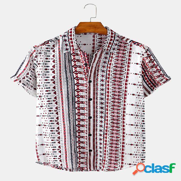 Mens algodão étnico impressão respirável casuais camisas de manga curta