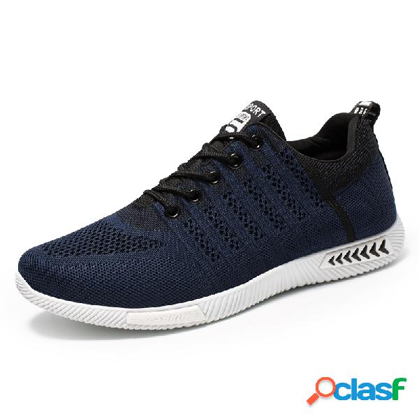 Men sport knitted fabric breathable casual running sneakers
