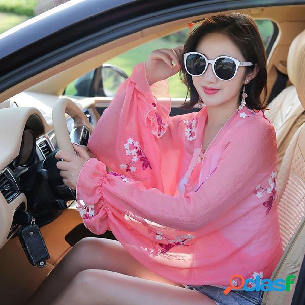 Applique bordado chiffon protetor solar manga xale verão mulheres protetor solar vestuário