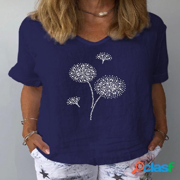 Camiseta feminina com estampa de flores e decote em v com meia manga