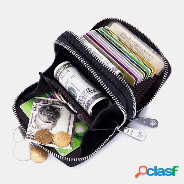 Mulheres 10 slots de cartão rfid couro genuíno carteira com zíper curta e carteira