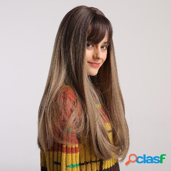 "24 ""brown gradient milk chá color bangs long straight cabelo peruca vertical natural soft sintético peruca"