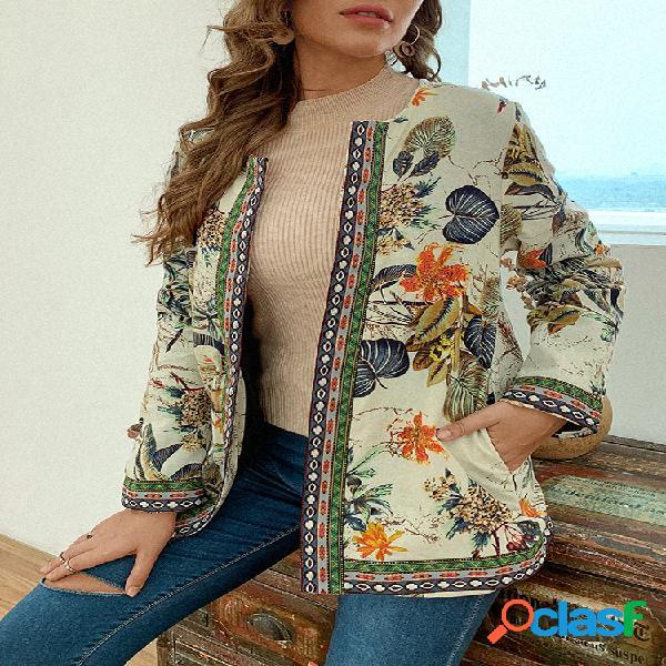 Jaquetas vintage com estampa étnica patchwork plus
