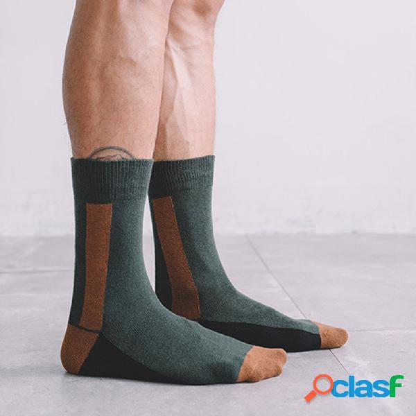 Meias casal masculino e feminino verde escuro linhas designer contraste cor tubo meias algodão