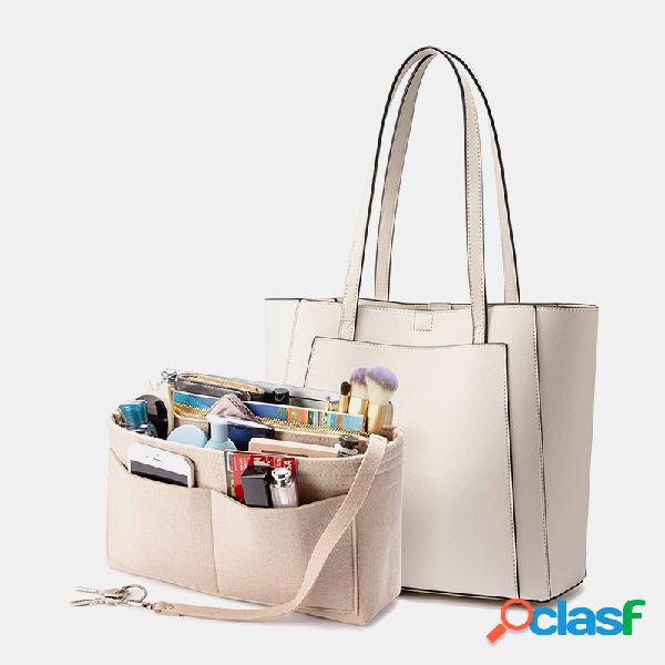 Mulheres 3 unidades de bolso múltiplo grande capacidade de 13,3 polegadas laptop chave sólida ombro bolsa com inserção de organizador de bolsa