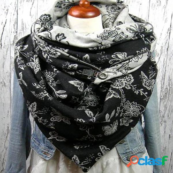 Lenço estampado feminino xale lenço multifuncional para o pescoço lenço quente