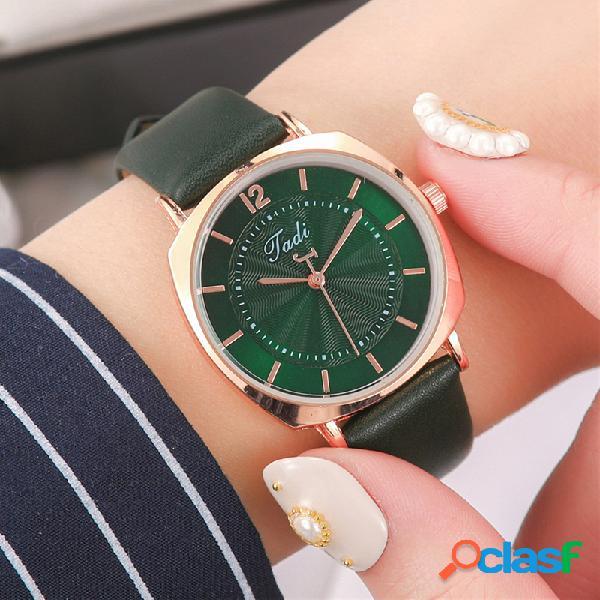 Relógio de pulso de mulheres elegantes na moda liga de ouro rosa caso couro banda relógios de quartzo