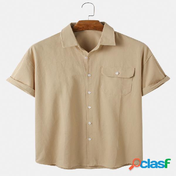 Camisas de manga curta casual respirável e fina de algodão liso para homem com bolso