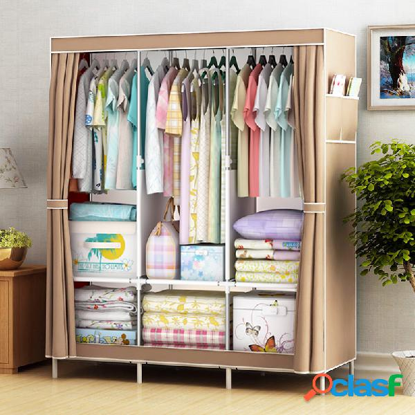 Guarda-roupa grande de tecido de lona com prateleiras suspensas para roupas armário de armazenamento