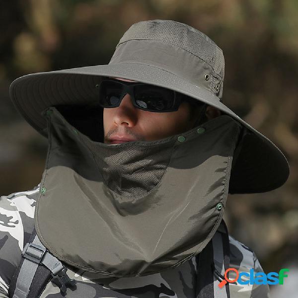 Chapéu homens protetor solar pesca sol chapéu homens sol escalada ao ar livre chapéu cobrir face big brim pescador pescador chapéu