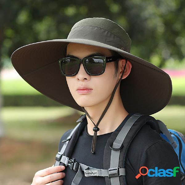 Chapéu sol masculino chapéu verão ao ar livre grande ao longo do sol chapéu lazer pescador chapéu homem alpinismo pesca sol chapéu