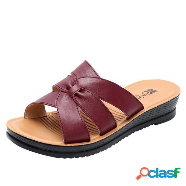 Chinelos de couro confortável soft de dedo do pé aberto