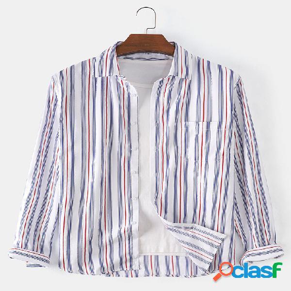Algodão masculino com listras verticais estampado estilo breve camisas de manga longa