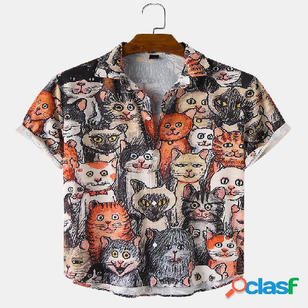 Homens halloween allover engraçado gato impresso casual solto fit camiseta manga curta