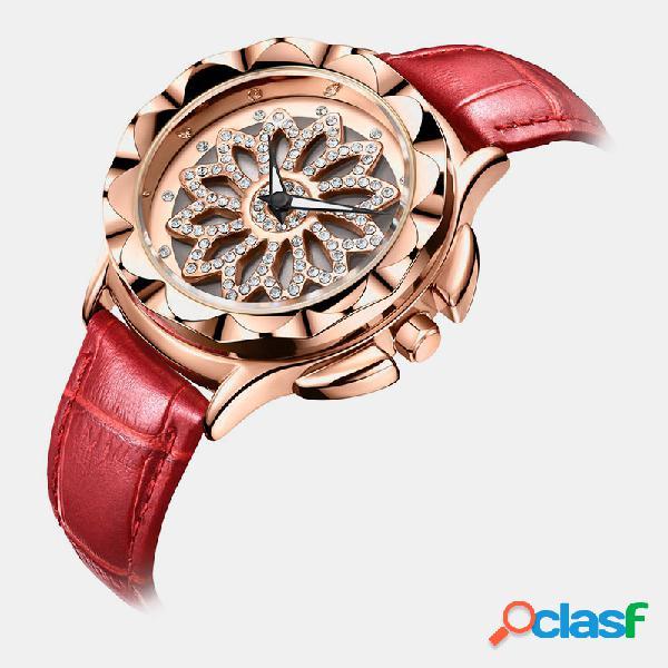 Relógio de luxo para mulher com flor giratória design mostrador de couro banda relógio de quartzo com fecho ajustável