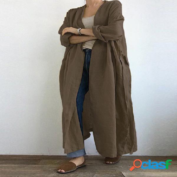 Casaco casual de cor sólida plissada manga longa maxi plus tamanho cardigan