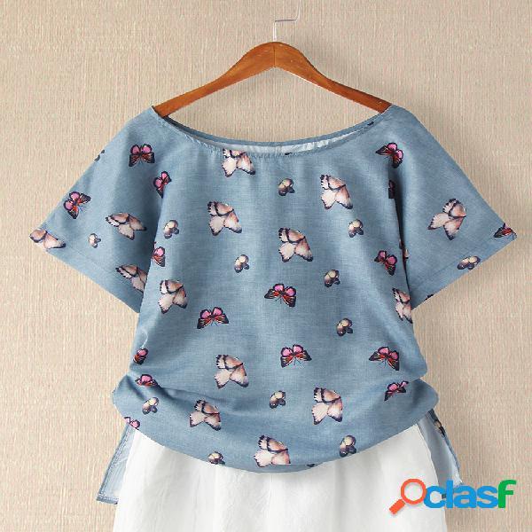 Camiseta de manga curta dividida com gola o com estampa borboleta
